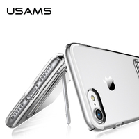 For iphone 7 case cover USAMS Slim Clear Crystal TPU Phone Case clear Back Cover + Kickstand TPU Case For iphone 7 plus