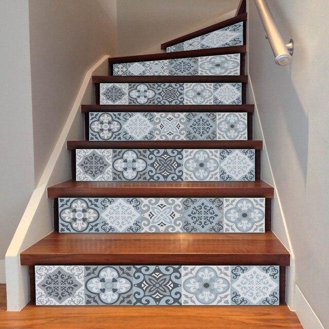 Stile mediterraneo imitazione 3D piastrelle adesivi scale soggiorno ...