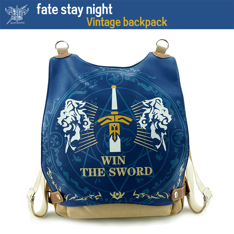 2016 New Anime backpack Fate stay night Cartoon students school bag classic Vintage Canvas rucksack women men Travel bag Laptop anime fate stay night coin wallet cosplay men women bifold purse