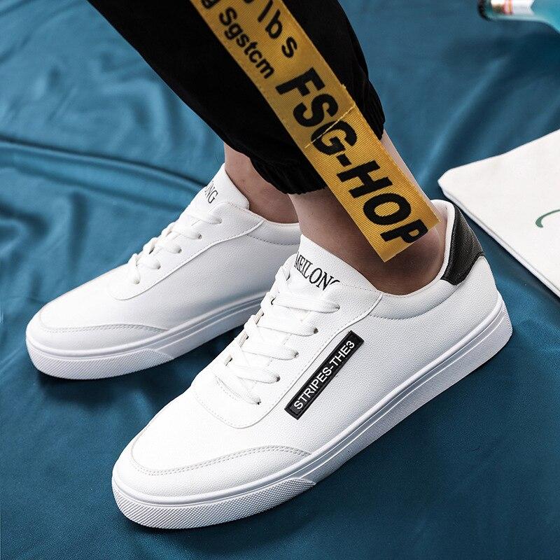 Respirant Mode Printemps blanc White Pu Homme Mâle Red D'été Black Chaussures white 2018 Plat Occasionnels Hommes Formateurs Blanc Skate 4drHwqRxUd