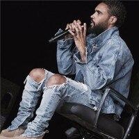 Người đàn ông Si Tun kanye west Sợ thiên chúa lỗ hỏng bị hư hỏng đau khổ xé lt quần jean màu xanh chân dây kéo Kanye West men denim quần
