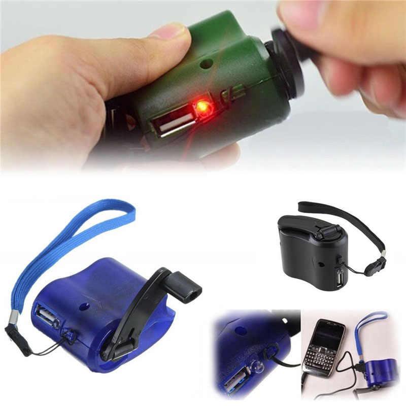 Charger USB Pengisian Darurat Engkol Tangan Dinamo Power Portable untuk Outdoor Ponsel WIF66