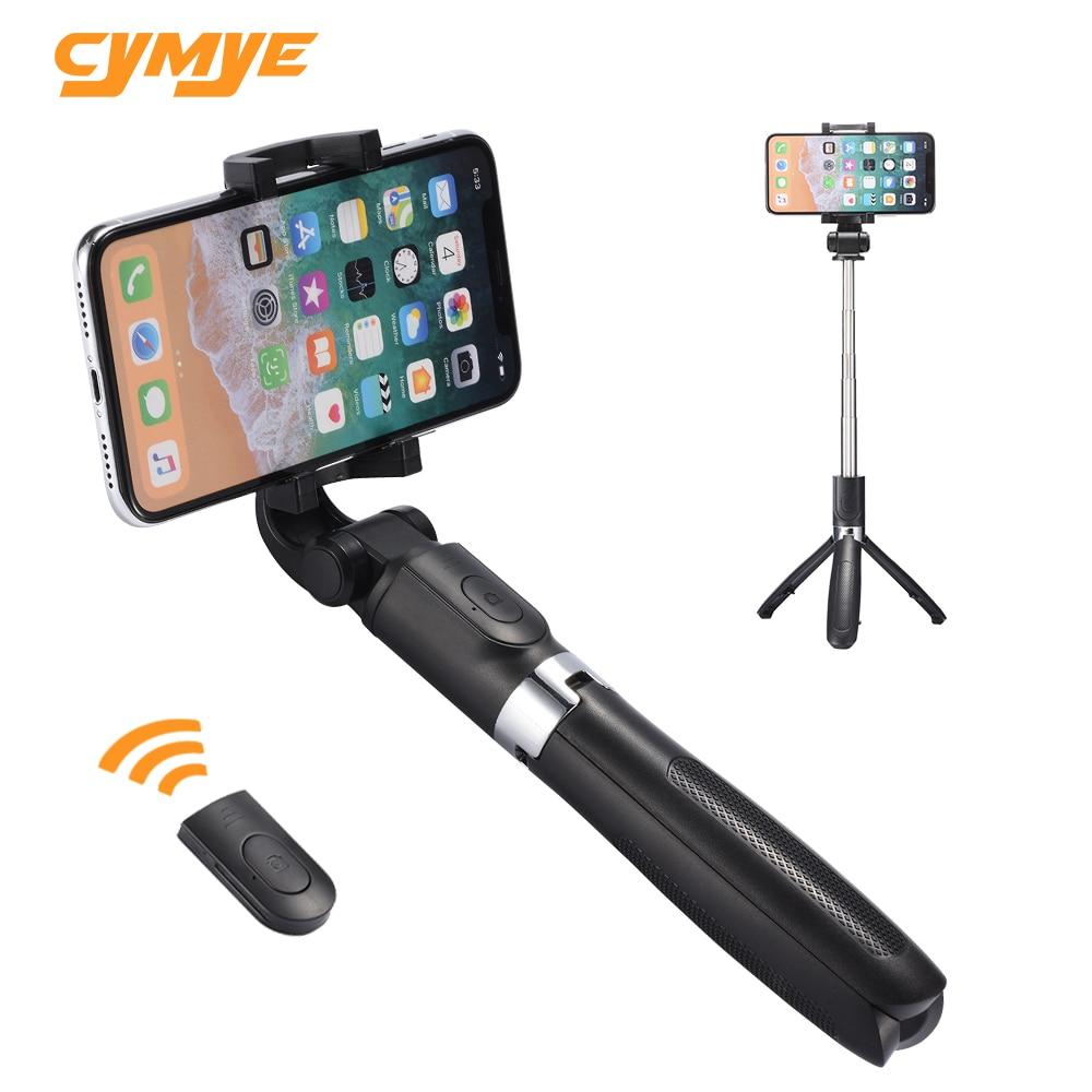 Cymye selfie vara l01 3 em 1 bluetooth sem fio dobrável handheld monopé tripé