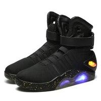 Мужская светящаяся обувь «Назад в будущее», ботильоны в Военном Стиле, ограниченная серия, мужская обувь со светящимися светодио дный,