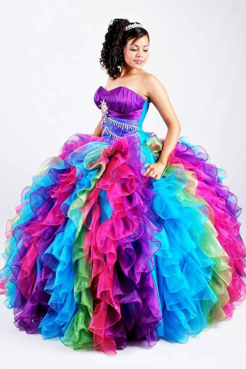 Popular Rainbow Quinceanera Dresses-Buy Cheap Rainbow Quinceanera ...