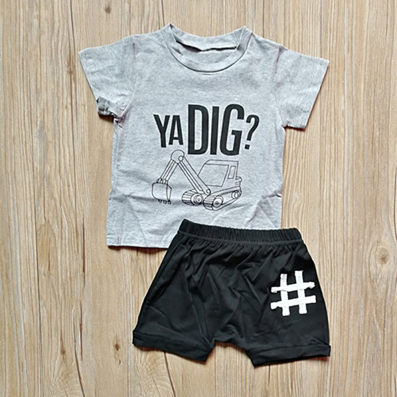 Fashion Summer Baby Boys Clothes Short Sleeve Letter Print Tops Blouse T-shirt+Shorts Children Casual Outfits Sets