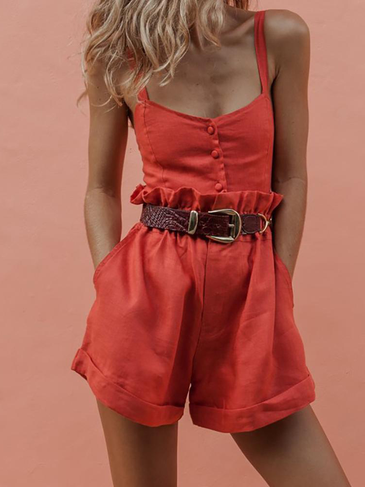 Summer Casual Rompers Womens   Jumpsuit   2019 Red Sleeveless Strap Camis Playsuit High Waist Shorts Fitness Overalls Femme