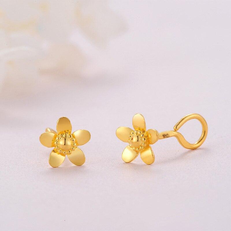 Чистое 999 желтое золото цветок серьги гвоздики 2,11 г - 4
