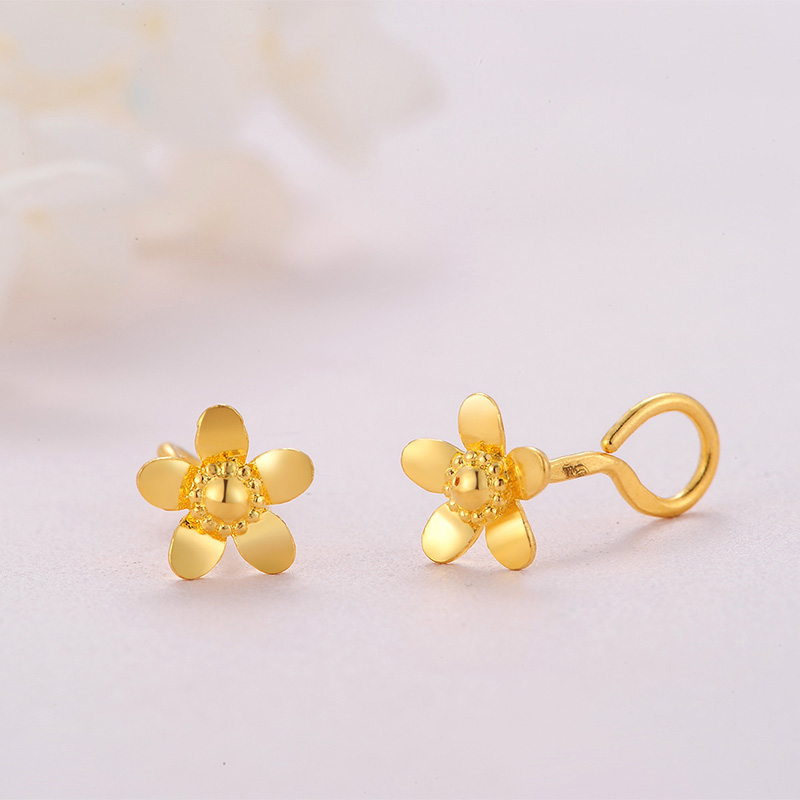 Pure 999 Yellow Gold Flower Stud Earrings 2.11g - 4