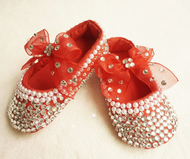 Personalized Stunning red rhinestone crystal Baby Girl children shoes handmade Bling Diamond first Walker infant shoes