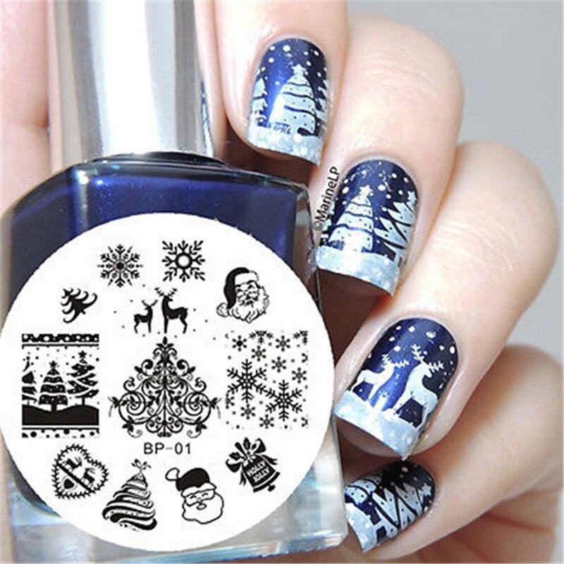 Nailart 1 Stücke Weihnachten Design Nail Stamping Platten Schnee Herz Bild Stamping Nail Art Maniküre Template Diy Nagel Stempel Werkzeuge