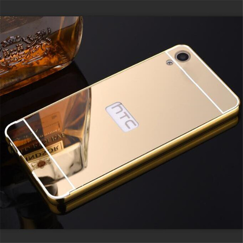 For HTC Desire 830 shell Case Metal Aluminum Case Frame + Mirror Acrylic Phone Back Cover for HTC Desire 830