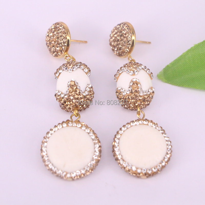 4Pair Fashion Jewelry Natural White Stone Dangle Earrings Pave Crystal Rhinestone Charm Earring For Women