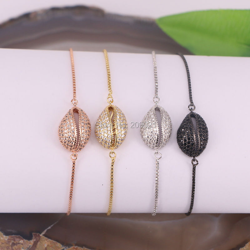 New Style 10Pcs Micro Pave CZ Cowrie Shell Connector Beads Macrame Adjustable chain Bracelet