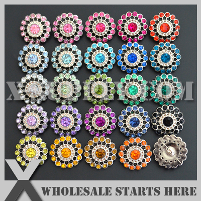 Free Shipping 21mm Acrylic Rhinestone Button Shank Backing for Headband Flower Center Mixed Colors