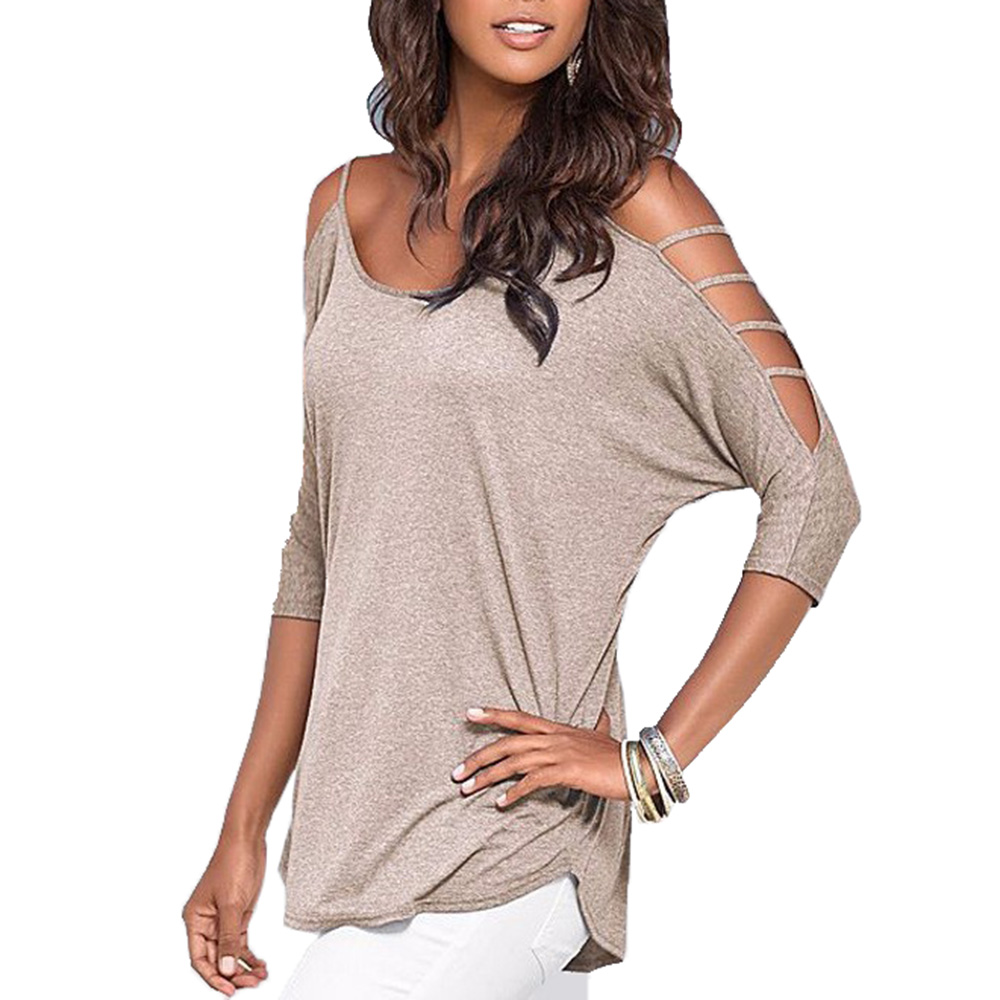 Summer Women Cotton T-Shirts Off Shoulder Hollow Out T-shirt Tops Ladys Solid Color O-neck Top Tees