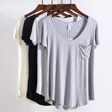 T Shirt Women White Black Short Sleeve T Shirt Tee Tops Summer Loose Cotton TShirt Women Plus Size XXXXL V-Neck Sexy Tops Femme