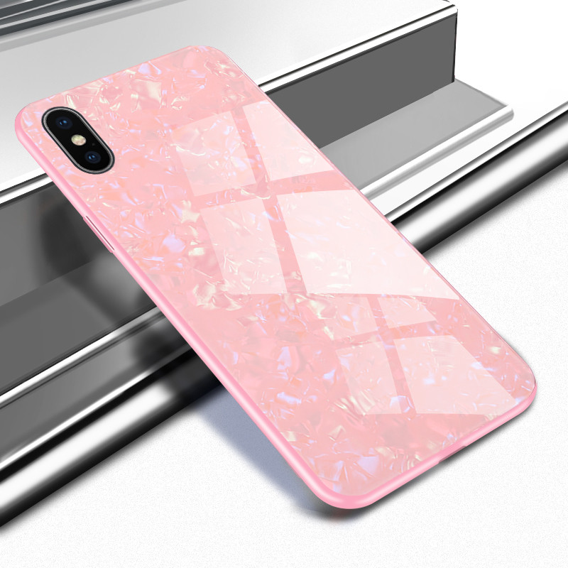 Tempered Glass Conch Shell Phone Case For Iphone X Xs Max 11 Pro Max Xr 8 7 6 6s Plus Cover On For Apple I Phone 8plus 11 promax 10S 10R  Funda Coque