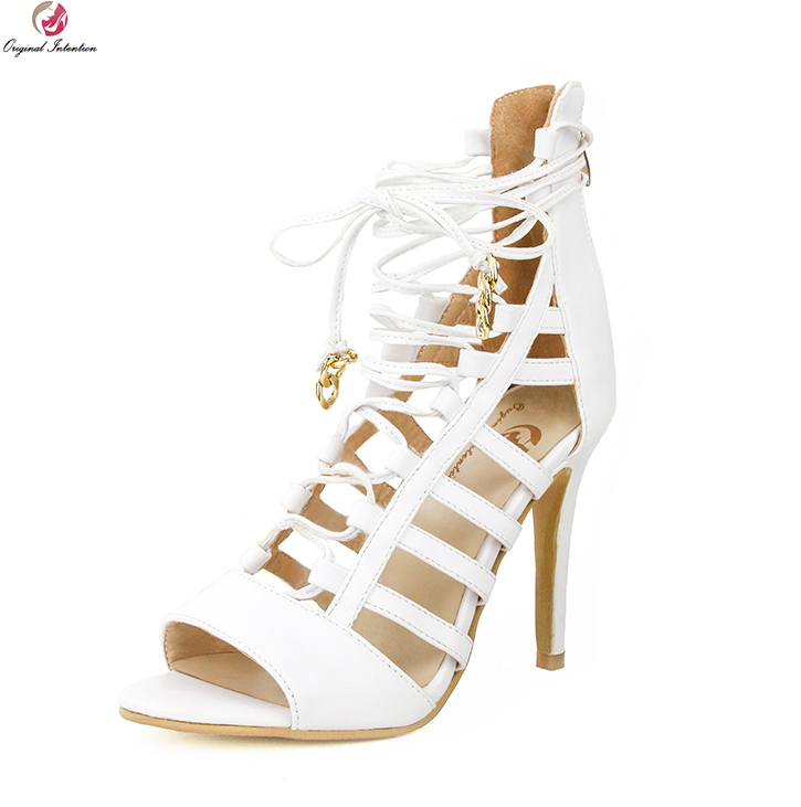 original intention super sexy women sandals fashion open toe thin high heels fashion black red shoes woman plus us size 4 15 Original Intention Super Elegant Women Sandals Fashion Open Toe Thin High Heels Beautiful White Shoes Woman Plus US Size 4-15