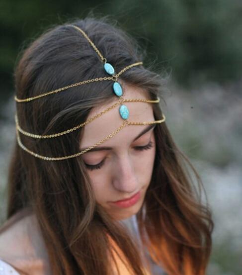MX0426 Fashion Bohemia Women Glitter Metal Headband High Quality Bling Hairband Girls Chain  Hairbands Hair Accessories