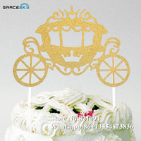 10pcs New free shipping Glitter paper pumpkin carriage Desgin Cake Toppers Wedding Birthday Party Favor Cake Decoration,7 colors