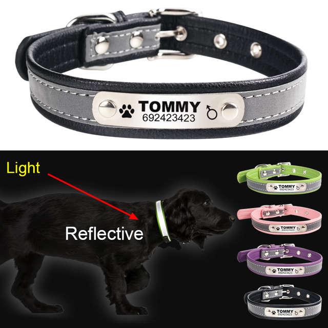 Reflective Leather Personalized Engraved Collar For Small Medium Dogs