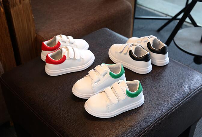 Spring & autumn 2017 new white leather soft comfortable waterproof boys and girls children shoes sneakers kids shoes
