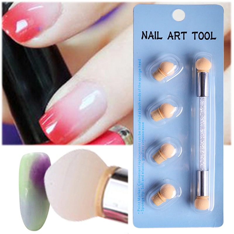 Sponge Nail Brush Double Ended Gradient Ombre Colorful Gel Polish DIY Pick Up Dot Paint Manicure Pen Blender Tool Nail Shading