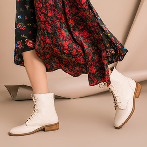 Image 4 - BeauToday Ankle Boots Women Calfskin Genuine Leather Round Toe Lace Up Back Zipper Winter Lady Fashion Shoes Handmade 02202