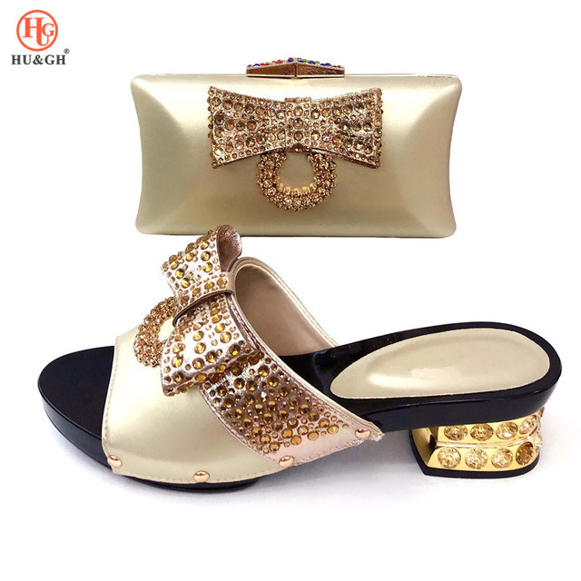 2019 New Nigerian Summer Gold Shoe and Bag Sets Italian Shoes and Bags Set for Wedding Party African Matching Shoes and Bag Sets