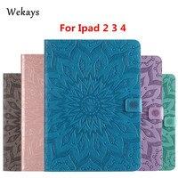 Wekays Für Apple IPad 2 3 4 Sonnenblume Smart Leder Flip Fundas fall Für Coque IPad 2 3 4 IPad2 IPad3 IPad4 Tablet Abdeckungs-fälle