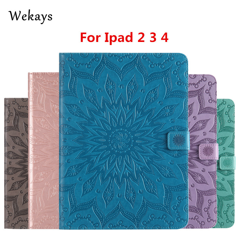 Wekays For Apple IPad 2 3 4 Sun Flower Smart Leather Flip Fundas Case For Coque IPad 2 3 4 IPad2 IPad3 IPad4 Tablet Cover Cases for apple ipad mini 1 2 3 case grape patterns pu leather protective flip rotate tablet pc cover stand coque para housing