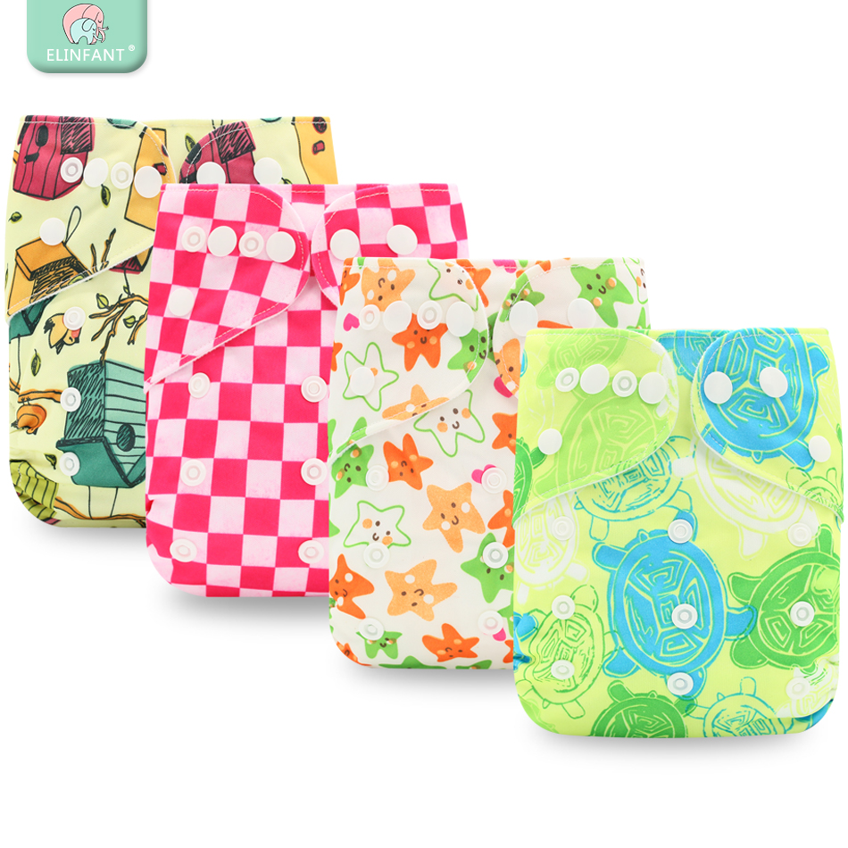 Elinfant 50 pcs cloth diaper washable waterproof one size fit all fit baby 3 15kg high