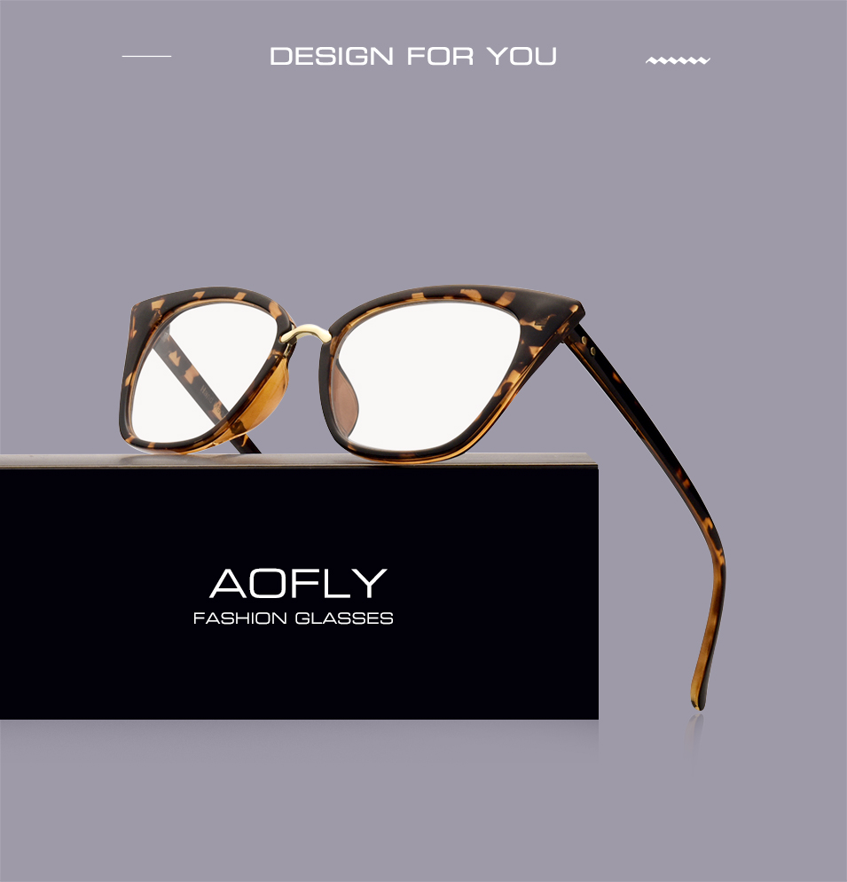 0b08c023721 AOFLY Brand Design Women s Plain Glasses Cat Eye Glasses Frame Clear Lens  Optical Spectacle Eyeglasses Fashion Goggles AF2537