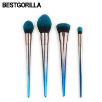 Professional Fashion 4 7pcs Sets Diamond Makeup Brush Beauty Tools Flame Brush Eye Shadow Brush Blue