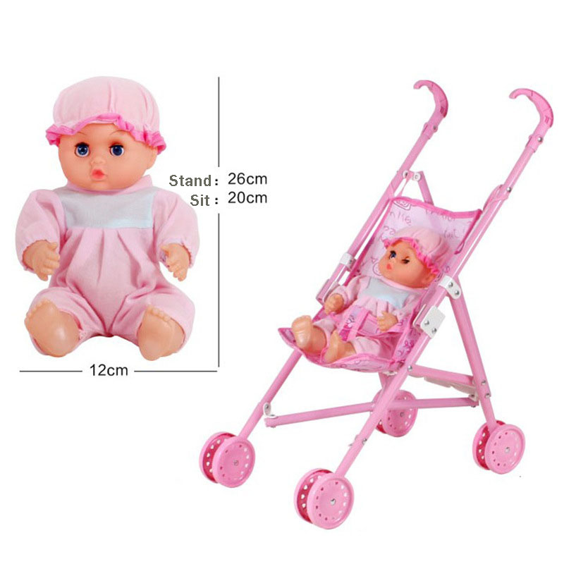 Pink Plasitc Baby Stroller Trolley Toddler Toys Miniature Furniture Car Doll Accessories Pretend Play Learning Cosplay Girl Toy