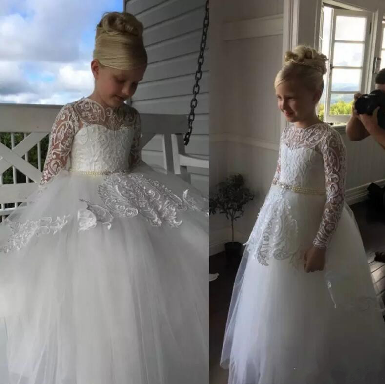 Long Sleeve Girls Communion Gown Lace Applique Floor Length Flower Girl Dress For Wedding Kids Formal Dress Custom Any Size floor length plus size lace formal dress