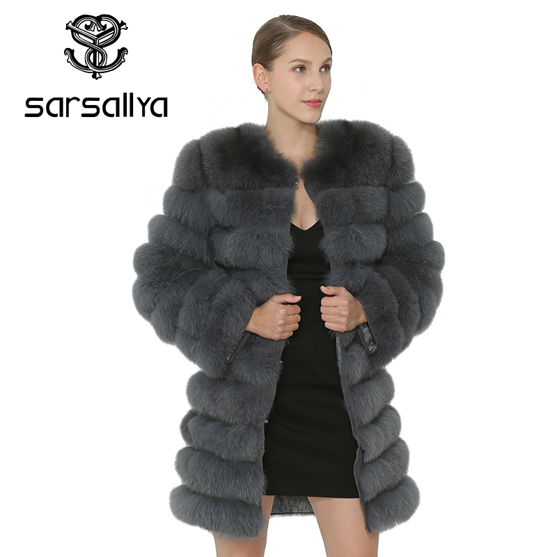 SARSALLYA Real Fox Fur Coat Women Natural Real Fur Jackets Vest Winter Mink Coat Fox Fur