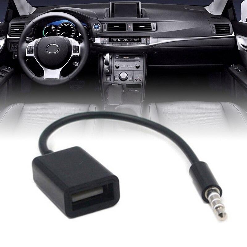 Nova chegada 1pc 3.5mm mp3 macho aux tomada de áudio jack para usb 2.0 fêmea cabo conversor acessórios do carro