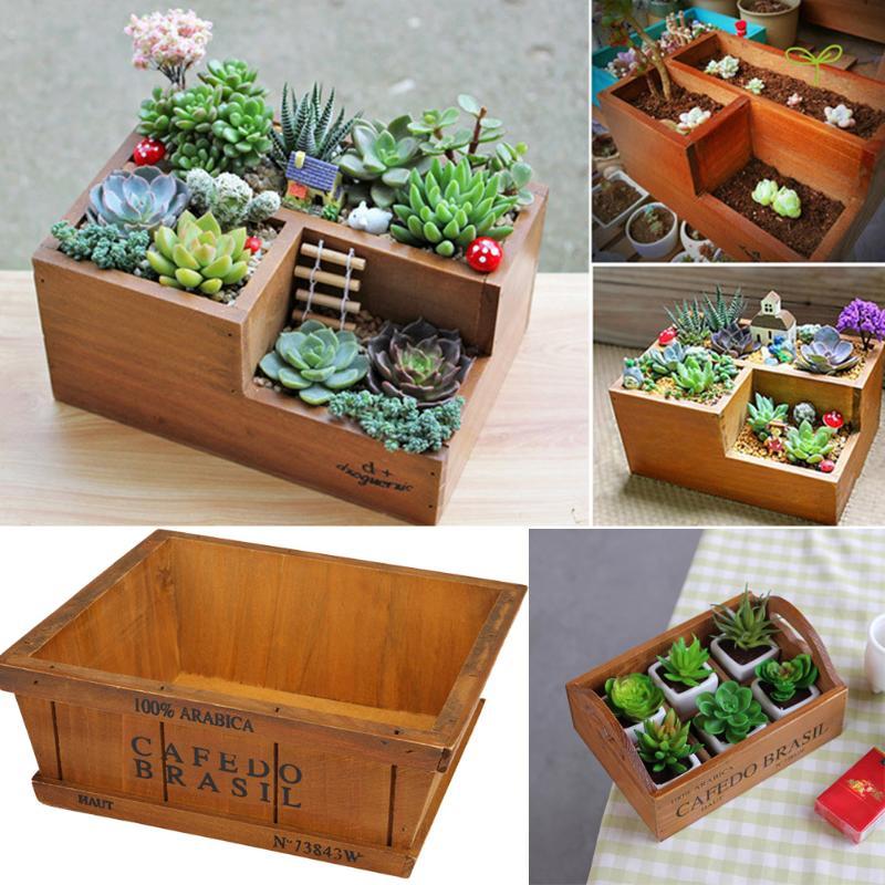Garden Wooden Flower Pot For Succulent Plants Nursery Window Box Wooden Flower Boxes Trough Pot Plants Garden Supplies