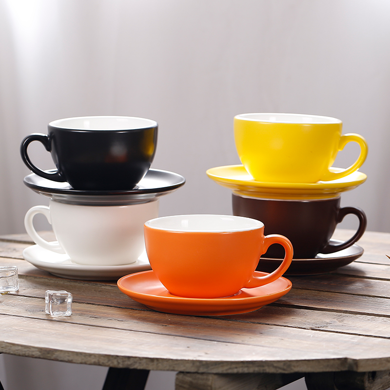 150ml thick body ceramic coffee cup and saucer for flat ...