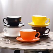 150/220/300ml gruba ceramiczna filiżanka do kawy i spodek do płaskiego białego Latte Cup Cappuccino podwójna filiżanka do kawy Espresso Drinkware