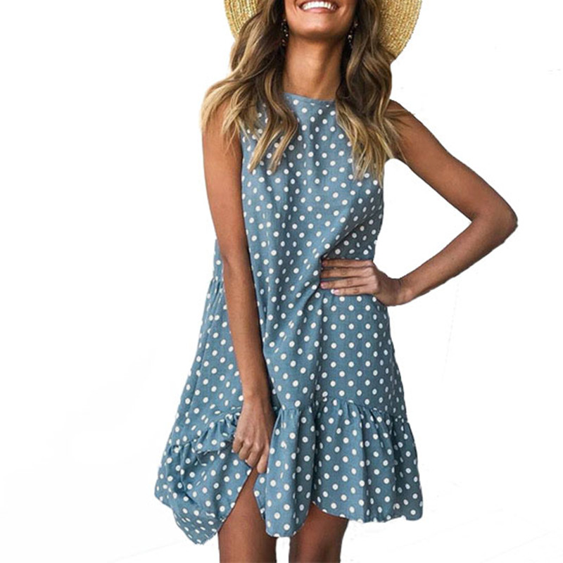 Plus Size Sleeveless Polka Dot Dress Women Shirt Summer Beach Dress Vestidos de festa Loose Casual Sexy Club Dresses Robe Femme