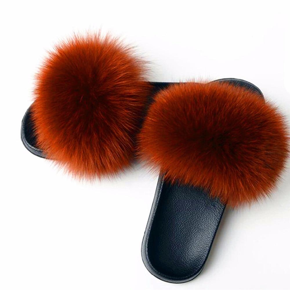 AoXunLong Hot Fox Fur Slides Kvinna Fox Fur Slipper Fox Fur Slippers - Damskor - Foto 2