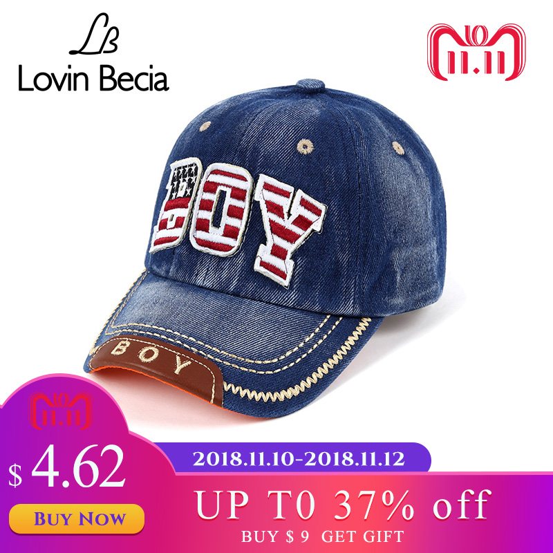 LovinBecia Summer Handsome Boys Baseball Cap Toddler Children Letter Denim Hat Casual Hip Hop Sun Snapback caps 3-8years kids fashion baseball cap crystal rhinestone floral woman snapback hats denim jeans hip hop women cowboy baseball cap