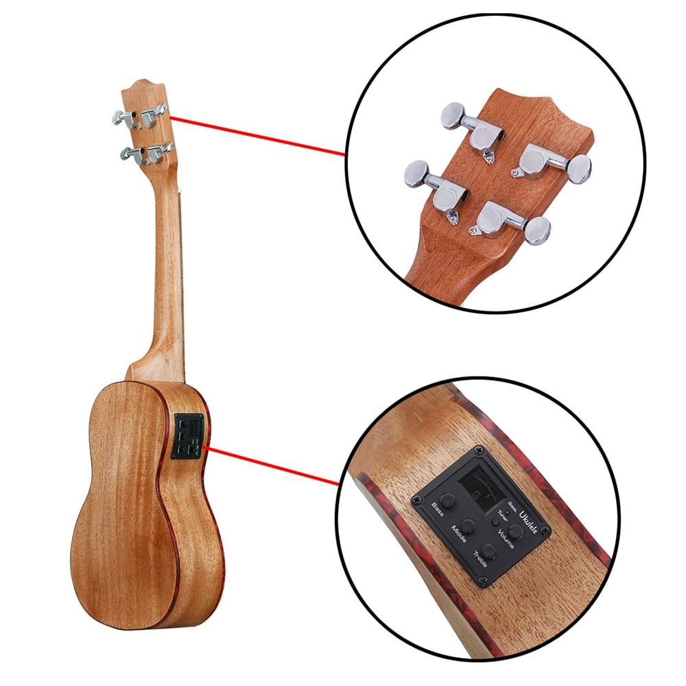 FSTE-IRIN 24 pouces ukulélé Sapele bois avec LCD EQ