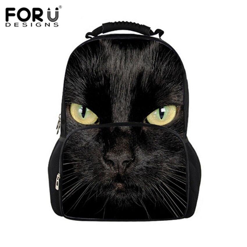 Głośno wzory czarny kot plecak kobiety w stylu Harajuku plecaki dla nastolatków dziewczyny śliczna torba szkolna zwierząt torby drukarskie Mochila w Plecaki od Bagaże i torby na  Grupa 1