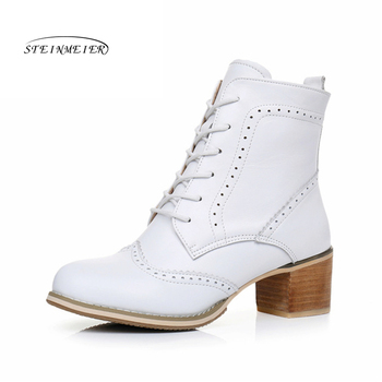 Genuine Leather Ankle women Boots Comfortable quality soft Shoes Handmade big US size 9.5 with fur white black 2019 winter