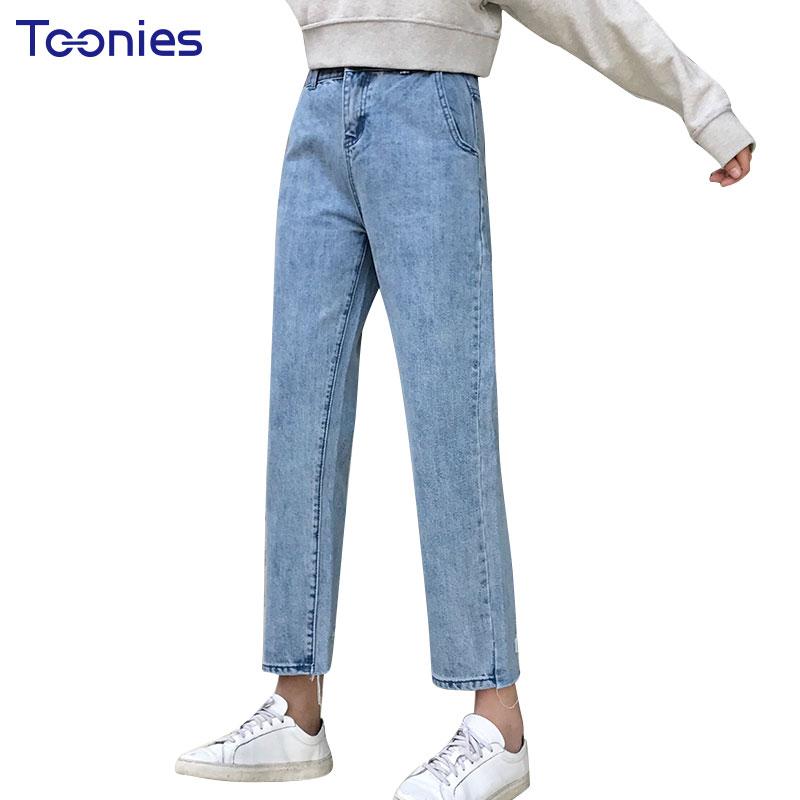 Korean Solid Blue Jenas Pants Women Hole Retro Full Length Denim Trousers All-match Spring Autumn Jean Femme Free Shipping S-XL