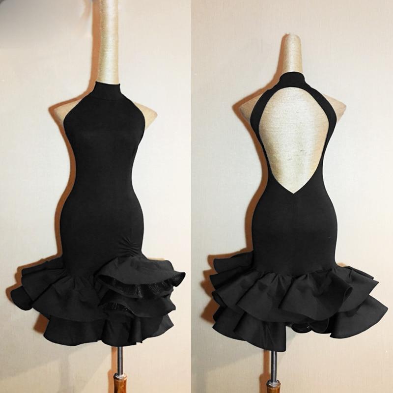 Robe de danse latine femmes 2018 nouveau Costume adulte robes de compétition de danse latine vêtements pour Salsa robe de danse noire L94